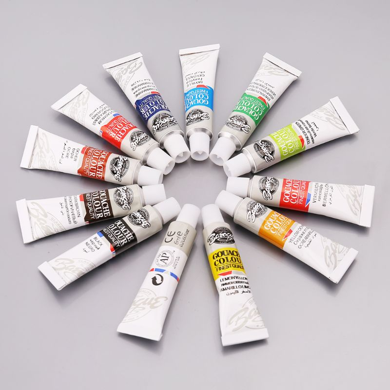 12 Colors Gouache Paint Tubes Set 6ml Draw Painting Pigment Painting With Brush Art Supplies Pigment Powder