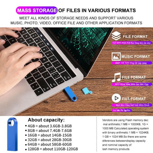 metal memoria usb flash drive 32GB pendrive 128GB 64GB waterproof pen drive 16GB 8GB flash usb 2.0 cle usb stick key Custom logo 3