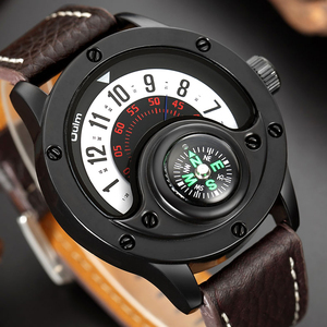 Image 2 - Creative מצפן גברים שעון קוורץ שעונים ספורט פטיפון חיוג שעוני יד מקרית רצועת עור צבאי שחור איש שעון Reloj