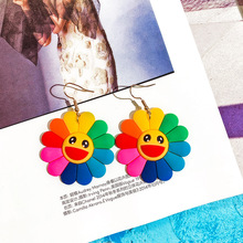 DREJEW Colorful Smile Face Sun Flower Statement Earrings 2019 925 Alloy Drop for Women Wedding Fashion Jewelry HE2641