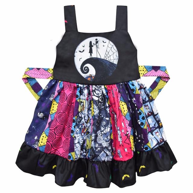 الفتيات هالوين كابوس الجمجمة جاك Skellington تأثيري حلي بنات الهيكل العظمي اليقطين ثلاثية الأبعاد مطبوعة الأسود الرسن أكمام فستان