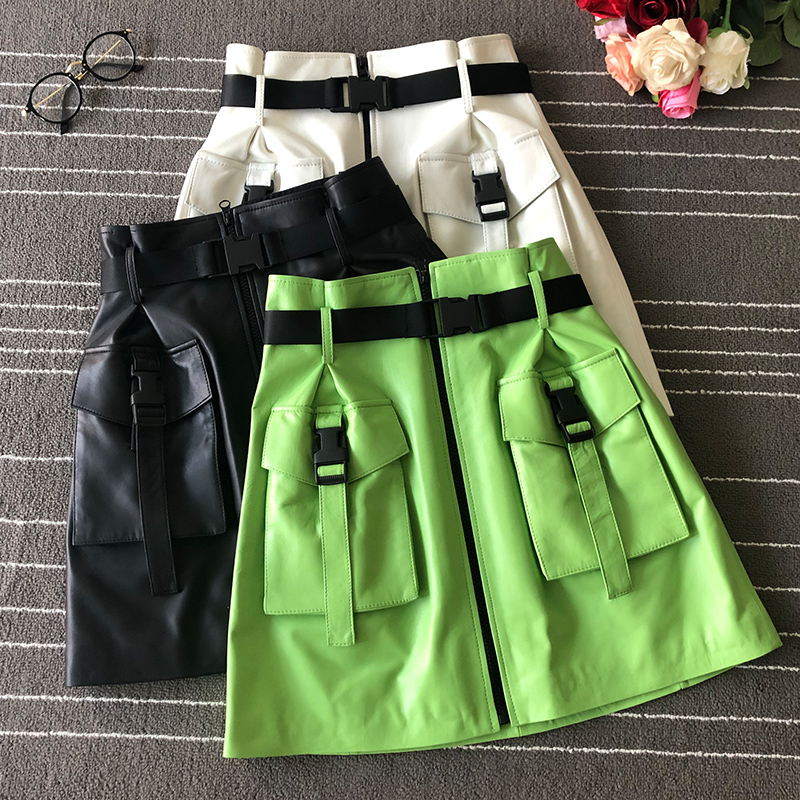 Women  Hot fashion sheepskin leather pockets skirt 2019 autumn high quality high-waist A820