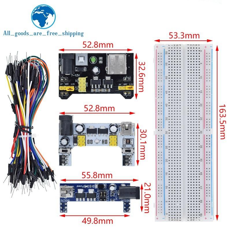 Макетная плата MB102 3,3 В/5 В, модуль питания + MB-102 830 точек, прототип, хлебопечка для комплекта arduino + 65 Джампер-проводов, оптовая продажа
