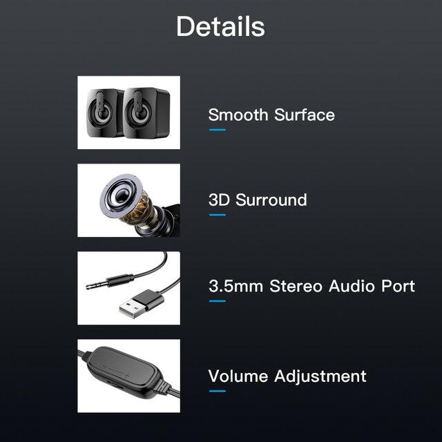 USB Computer Speaker Deep Bass Stereo Sound Music Player Speakers for Macbook Laptok Desktop Notebook Computer Loudspeaker 5