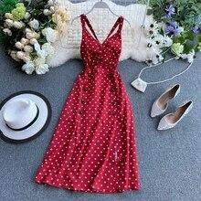 Polka Dot Red Dress Women Vintage Dresses Vestidos Mujer 2020 New Summer Double Breasted Midi Dress v-neck Backless Long Robe