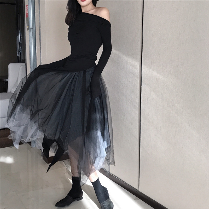 Photo Shoot 2019 Spring WOMEN'S Dress Sexy Backless Tops + Gradient Multilayer Tutu Gauze Skirt Set