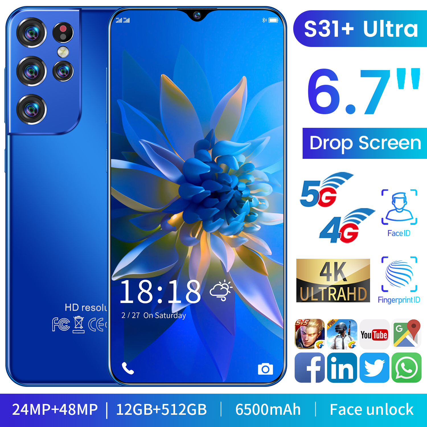 Global Version S31+ Ultra 6.7inch Android 11 Smartphone 12+512GB Face ID Fingerprint Unlock GPS 24+48MP 4G 5G Network Cellphone