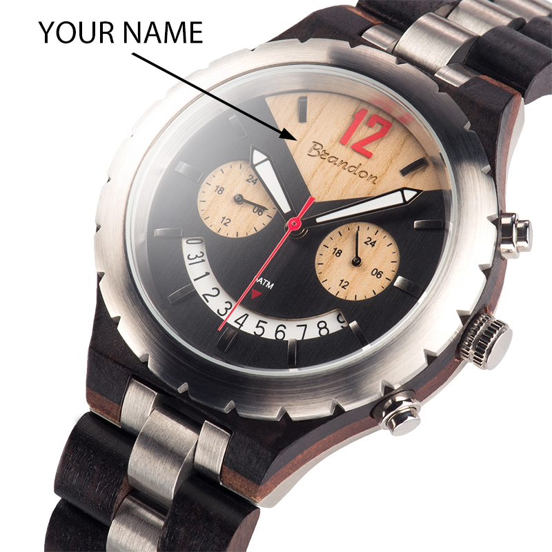 Customized Name Luxury Wood Watch BOBO BIRD Top Brand Waterproof Men Wristwatches relogio masculino Great Gift V Q28 in Quartz Watches from Watches