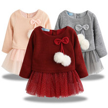 Long Sleeve Newborn Baby Girls Dress Infant Clothing 1 Year Girl Baby Birthday Dresses For Baby Christening Party Princess Dress(China)