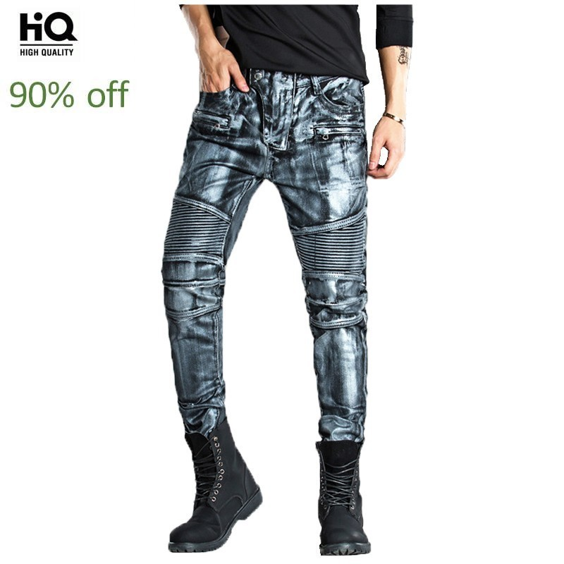 High Street Men's Personalized Biker Trousers Clothes For Men Pleated Slim Denim Zip Jeans Homme Long Casual Pants Gold Color