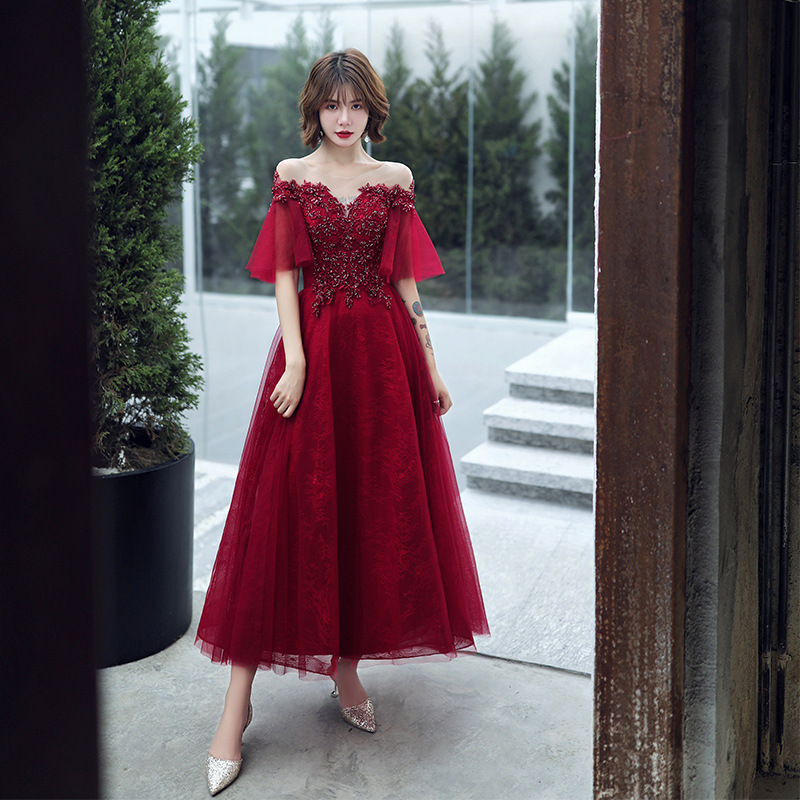 Ankle Length Evening Dresses Robe De Soiree Sexy Luxury Wine Red Sequin Lace Beading Formal Party Dress Prom Gown