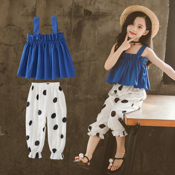 Summer 2020 Girls Clothing Sets Kids Blue T-shirt+Dot Capri Pants Suits Children Sleeveless Vest Clothes 4 5 7 9 11 13 Years Old