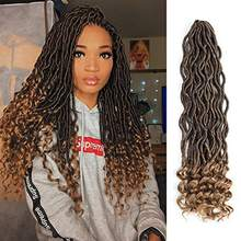 Goddess Locs Crochet Hair Wavy Faux Locs with Curly Ends Synthetic Braiding Hair Extension Soft Natural Ombre Crochet Braids(China)