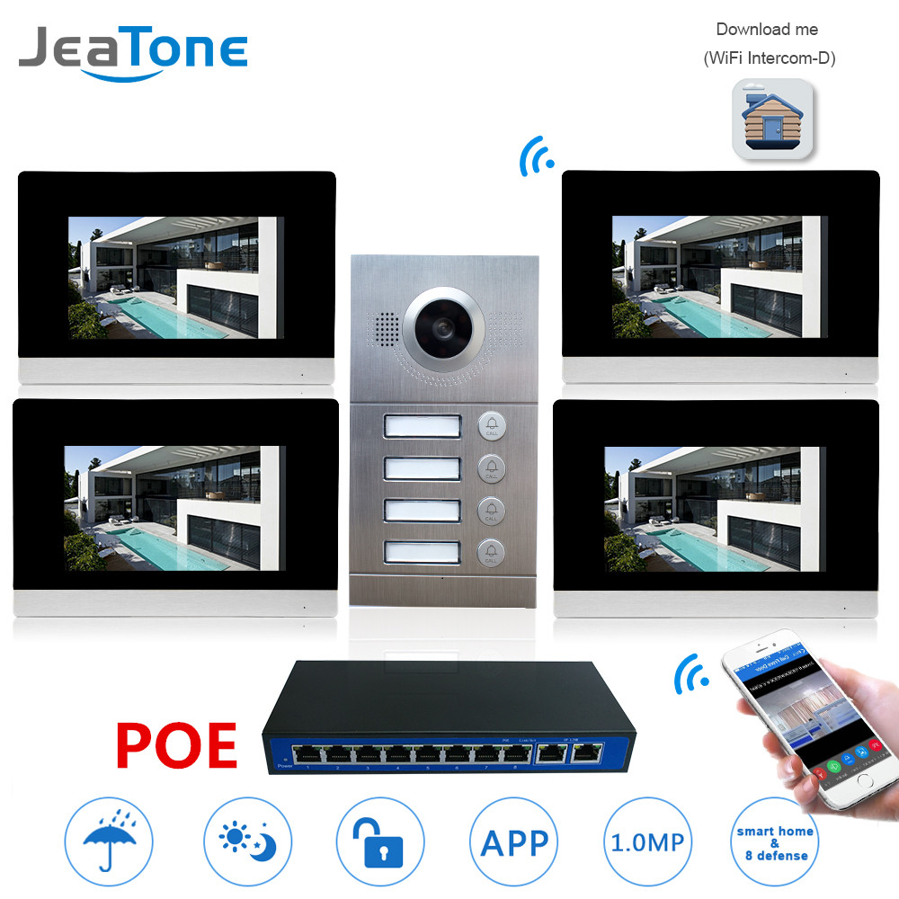 WIFI Video Intercom IP Door Phone Video Doorbell 7'' Touch Screen for 4 Separate Apartments/Can add Gas/Smoke/Water Alarm Sensor