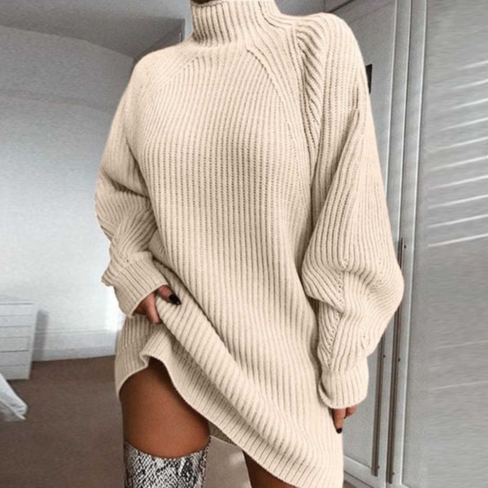 패션 여성 스웨터 겨울 따뜻한 터틀넥 긴 라글란 슬리브 니트 스웨터 느슨한 미디 드레스 여성 clothings