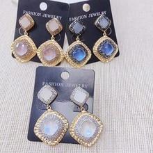 Rhinestone Druzy Stud Spectrolite long earrings Fashion Hot Sell Natural Gem Earring  24K Gold Dangle 1Pairs