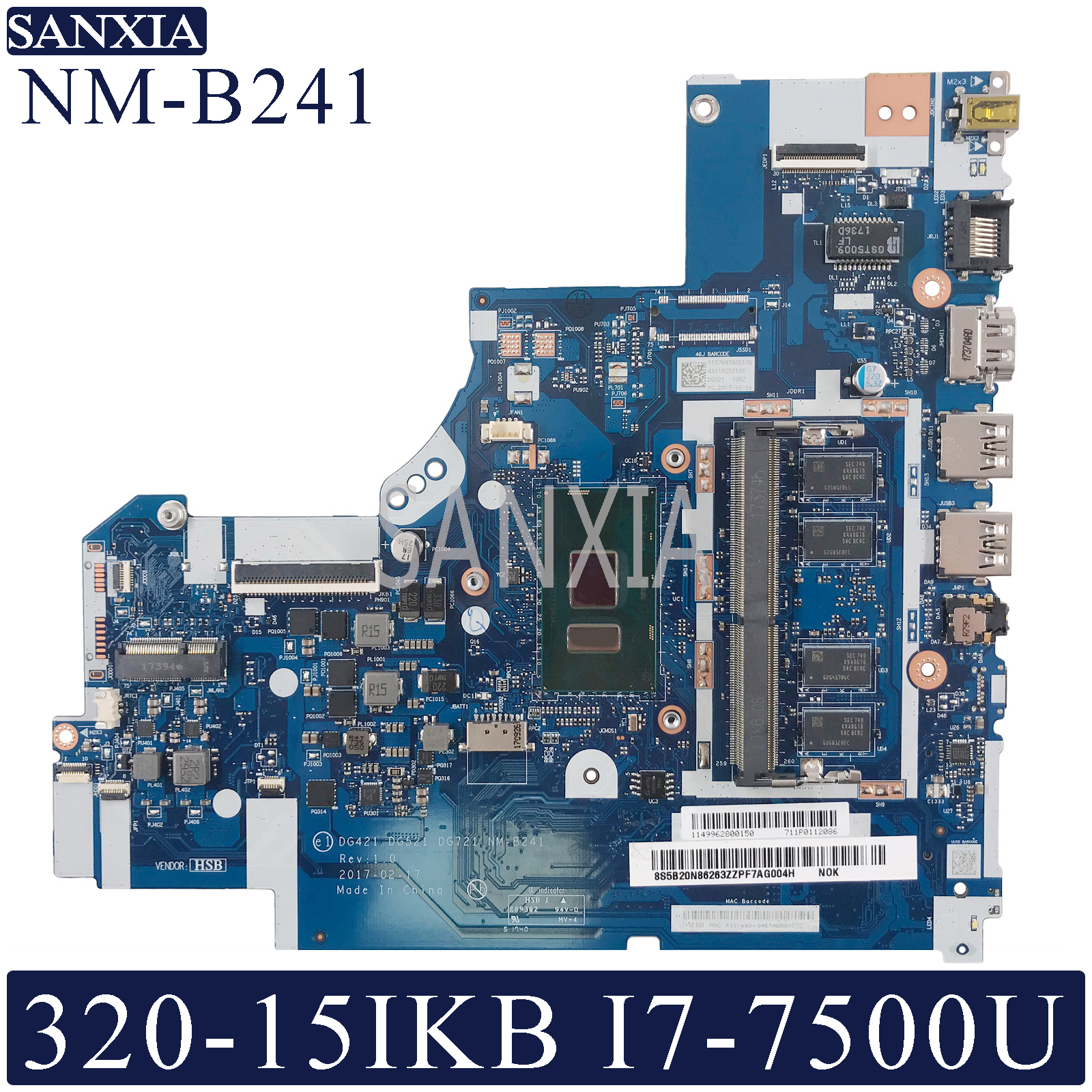 KEFU NM-B241 Laptop <font><b>motherboard</b></font> for <font><b>Lenovo</b></font> <font><b>Ideapad</b></font> <font><b>320</b></font>-15IKB original mainboard 4GB-RAM I7-7500U image