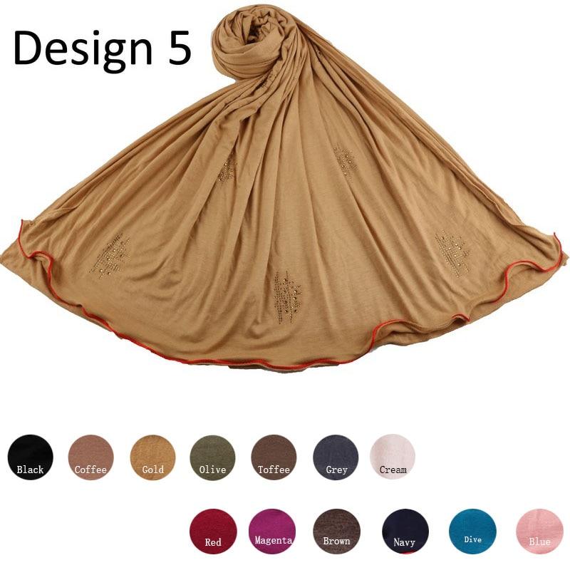 Redline D05-Cotton Diamond Shawl Stretchy Jersey Hijab Scarf With Rhinestone One Side Red Line For Muslim Women 2020 Netherlands