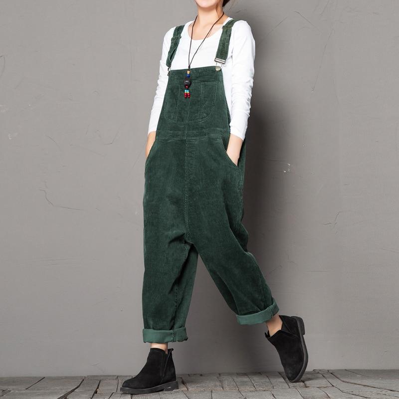 Jumpsuits Women Autumn Winter Cotton Corduroy Overalls Women Vintage Loose Strap Thick Bib Pants Hip Hop Streetwear Trousers 197