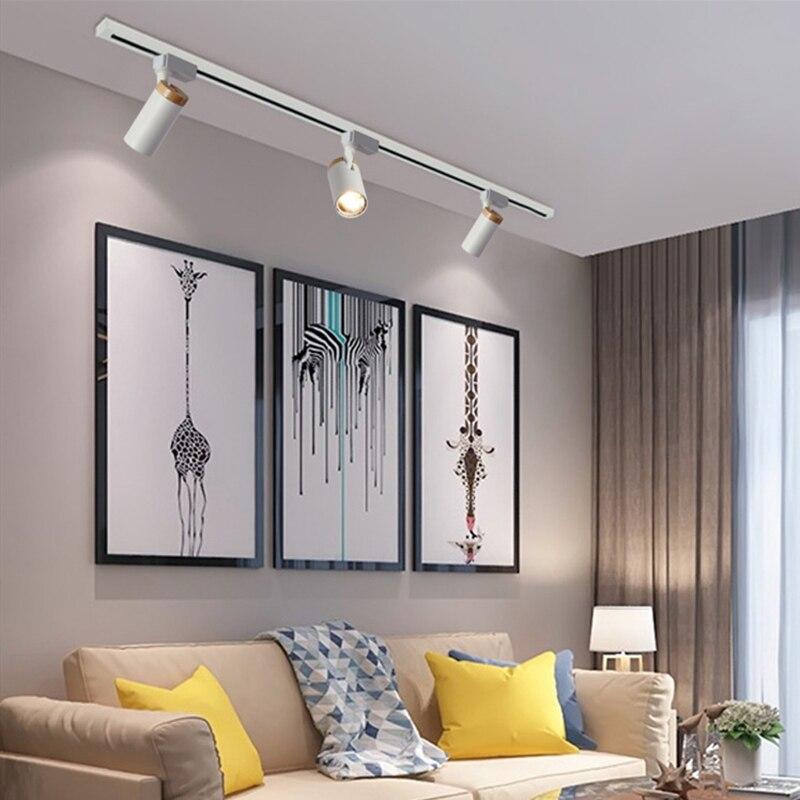 COB LEVOU luz de Teto De Madeira Moderno nórdico Lâmpada Spot Light para Casa Loja de Sala de estar Quarto Loft Corredor Preto Branco 110v 220v