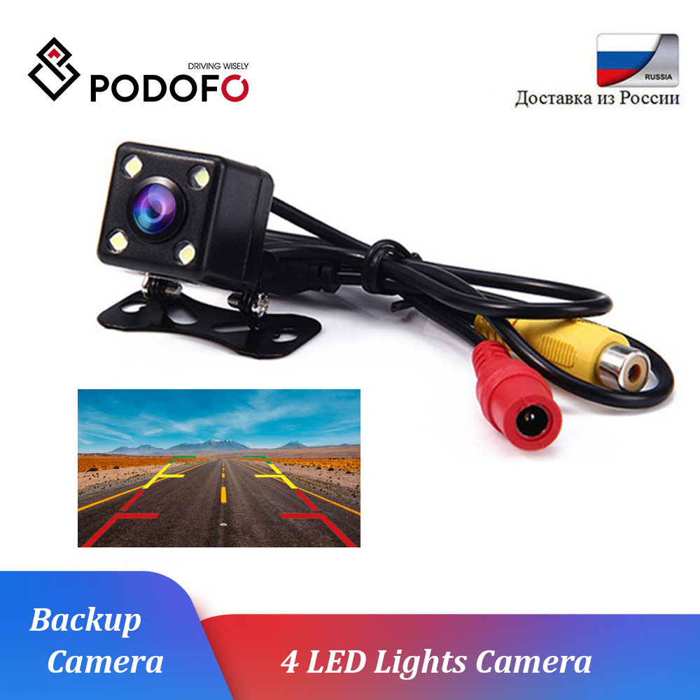 Podofo Car Rear View Camera Universal 4LED Night Vision Reversing Auto Backup Parking Monitor CCD Waterproof 170 Degree HD Video