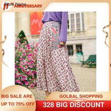 Floral-Skirt INMAN Spring A-Line Artsy-Style Women Fit-Shape Retro Autumn All-Match