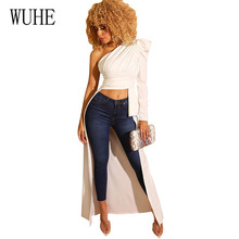 WUHE Sexy One Shoulder Long Sleeve Irregular T-shirts Elegnat Hollow Out Women Black White Fashion Top Summer High Streetwear