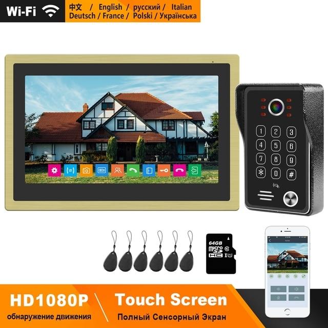 Homefongワイヤレスビデオドア電話wifiビデオインターホン家庭用10インチのタッチスクリーン1080pカメラスマート時間制御