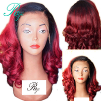 13X6 Red Burgundy 99J Ombre Colored Short Bob Cut Blunt Lace Front Human Hair Wigs Preplucked Closure Wavy Front Wig Indian Remy