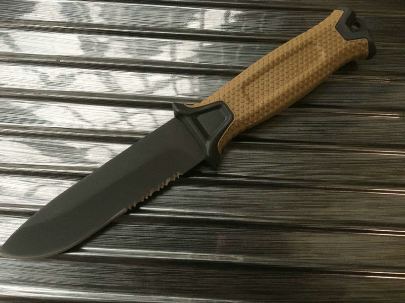 1500 Black/Khaki Handle Hunting Knife 12C27 Steel Blade ,Rubber Handle ,Tactical Knife Camping Knives With Sheath Dropshipping