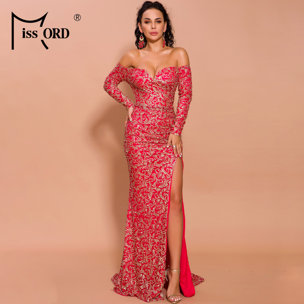 Missord 2019 Autumn And Winter Women Sexy V Neck Off Shoulder Long Sleeve Elegant Dresses  Female Maxi Dress   FT19467-1
