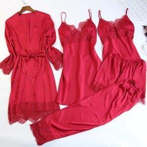 Image 5 - MECHCITIZ 5 pieces silk pajamas sets women satin sleepwear robe pants autumn pijamas bathrobe sexy lingerie lace winter pyjamas