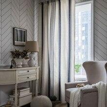 Cotton Linen Curtain High Quality Stripe Design Semi-shading Blackout Woven Grommets Top Rod Pocket Hooks Bay Window Built-in