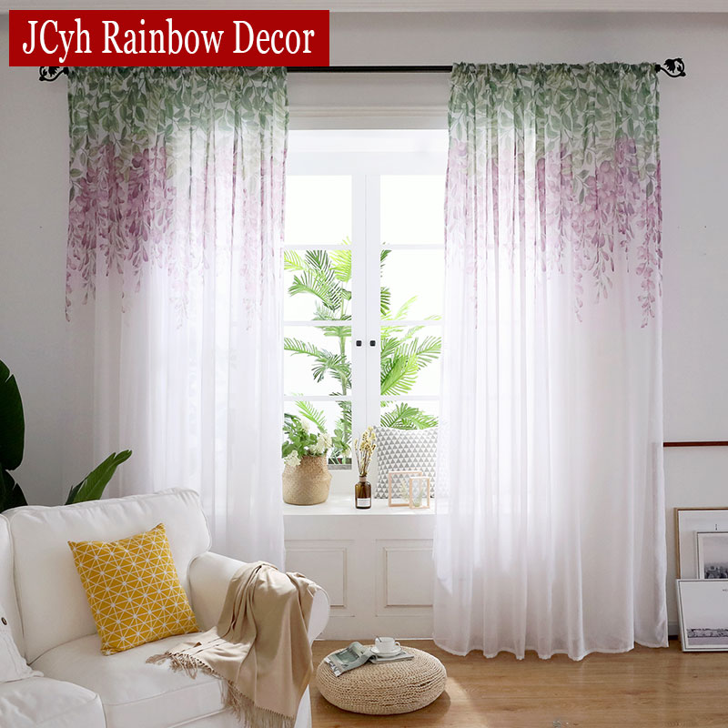 Country Style Wisteria Purple Flower Tulle Curtains For Living Room Bedroom Kitchen Window Screens Modern Sheer Curtains Rideaux