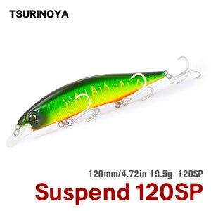 Tsurinoya 120mm 19.5g sp tungstênio sistema de peso fundição longa suspensão minnow dw51 topo isca de pesca manivela jerkbait iscas duras