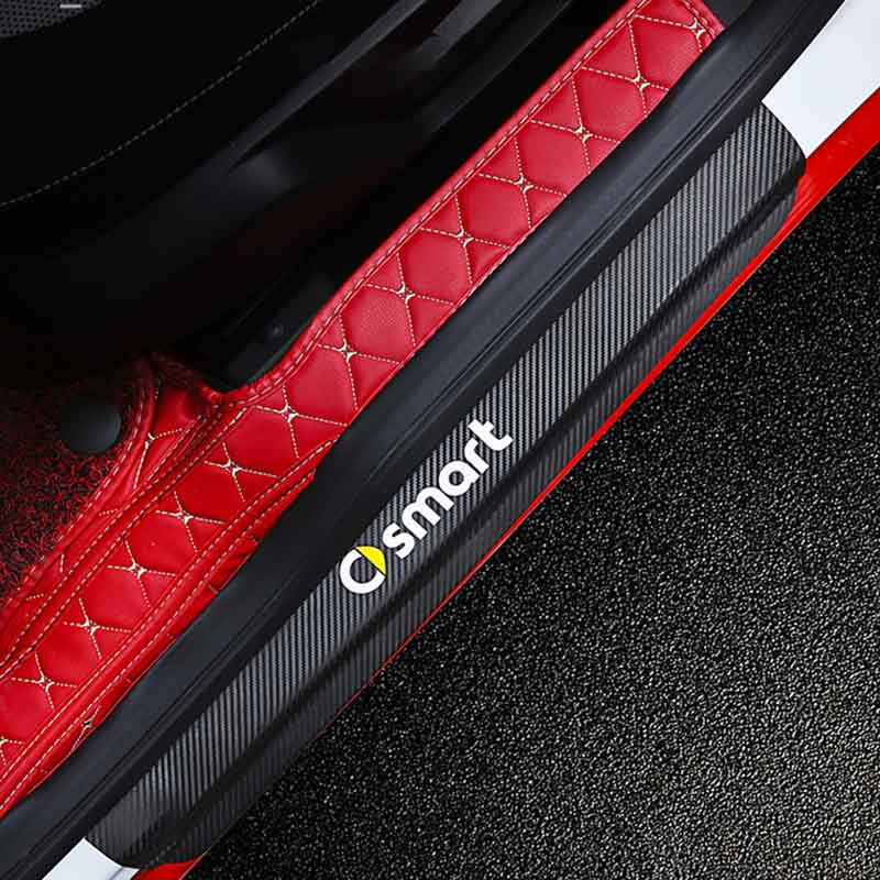 Car Sticker Car <font><b>Accessories</b></font> Carbon Fiber Door Sill Scuff Plate Guards Sills for Mercedes Benz <font><b>Smart</b></font> <font><b>Fortwo</b></font> Forfour Forjeremy image