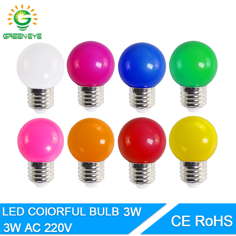 Led Bulb Lamp Bomlillas E27 3W Colorful Lampada Ampoule RGB Led Light SMD 2835 Flashlight  Home Decor AC 220V Globe Bulbs Home