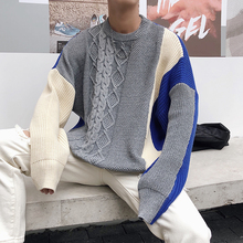 Winter New Sweater Men Warm Fashion Contrast Color Casual O-neck Pullover Streetwear Loose Male Clothes