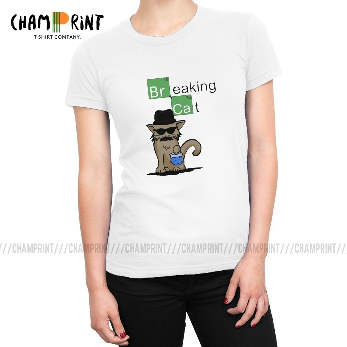 Breaking Cat Breaking Bad Walter White T-shirts Women Heisenberg Cotton T Shirt Harajuku Tops Tees Female Clothes Big Size image
