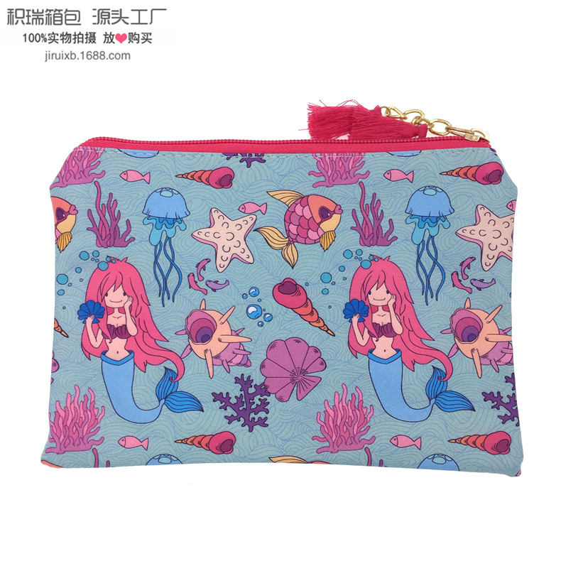 2018-Electricity Supplier Hot Sales Mermaid PU Purse Tassels Clutch Document Package Cosmetic Bag Batch