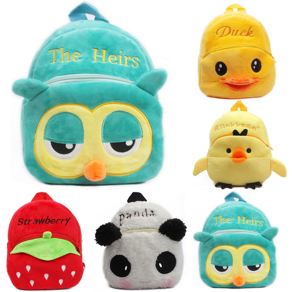 Children Plush Backpack 1-2T Kids Fluffy Cute Cartoon Animal School Bag Backpack School Student Handbag Girl Boy