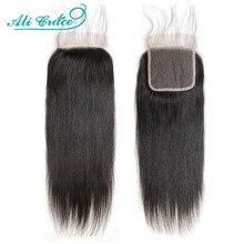 شعر طبيعي برازيلي مفرود من علي جريس مقاس 5 × 5 بقفل من الدانتيل السويسري بقفل من الدانتيل الخالص 13 × 4 بشريط أمامي 18 بوصة