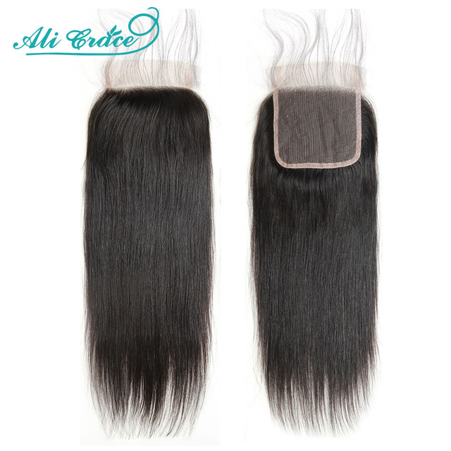 Ali Grace Closure Brazilian Straight Lace Closure 5x5 HD Swiss Lace Closure Pure Hand Tied 13x4 Lace Frontal Human Hair 18Inch