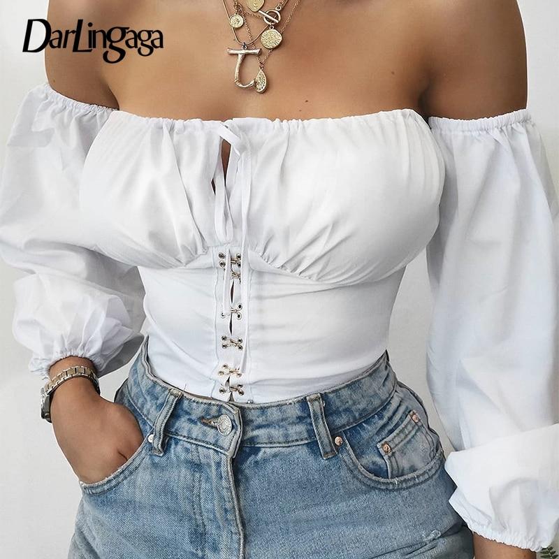 Darlingaga Fashion Slash Neck White Sexy Bodysuit Women Jumpsuit Body Hook Long Sleeve Off Shoulder Bodysuits Autumn Ruched 2019