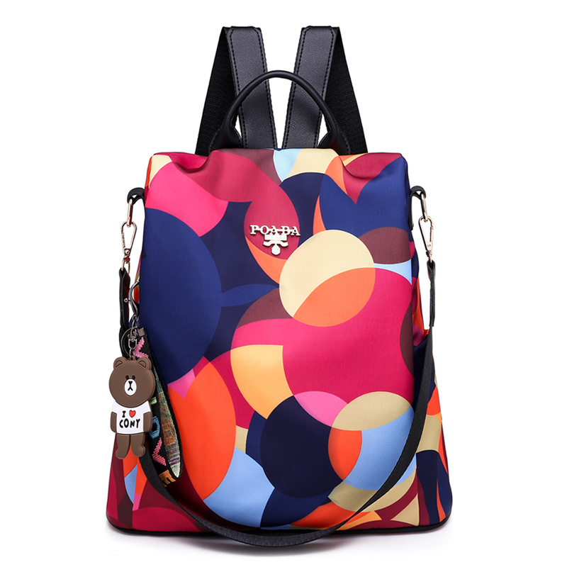 Fashion Water Resistant Nylon Women Backpack Flower Printing Female School Rucksack Girls Daily College Laptop Bagpack image