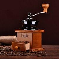 Máquina moedor de café moledor moagem manual molinillo de café antigo mão moedor de feijão máquina de madeira