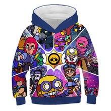 Коллекция года, лидер продаж, свитер с капюшоном для детей возрастом от 2 до 12 лет, пуловер с объемным рисунком забавной съемки с принтом из игры зимняя спортивная одежда со звездами для мальчиков и девочек