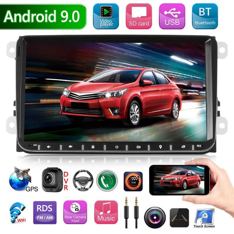 9 cal Android 9.0 samochodowe MP5 odtwarzacz nawigacji GPS Audio AUX mobilnego internetu obraz cofania Bluetooth WiFi Radio dla VW