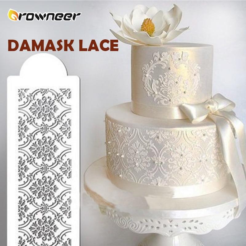2 stil kek yan Cupcake Stencil kek şam dantel sınır Sugarcraft dekorasyon kek kalıbı plastik pişirme kek dekorasyon aracı