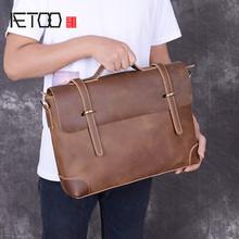 AETOO Mad Horse leather mens one-shoulder bag, stiletto casual briefcase, business vintage handbag
